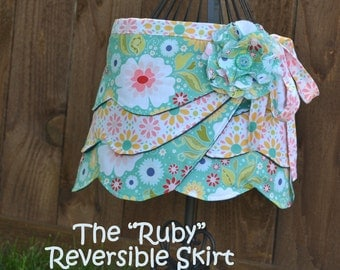 Reversible Wrap Skirt, Girl PDF Sewing Pattern, Fabric Flower Pattern, Instant Download
