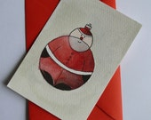 Christmas postcard with Santa - original watercolor painting OOAK