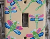 Hand Painted Dragonfly Single Light Switch Plate