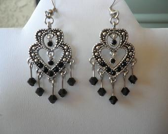 Heart to Heart Swarovski Crystal earrings- Jet black