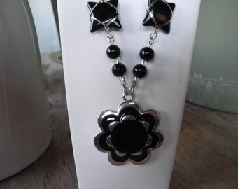 SALE  Black and Silver Flower with Black Glass Wire Wrapped Bead Necklace and Earring Set