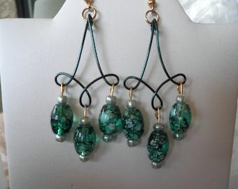 Sale Green Speckled Glass Earrings
