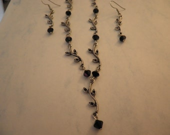 Leaves with Jet Black Swarovski Crystals Necklace and Earring Set