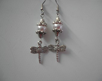 Swarovski Crystal Rose Pearl with Dragonfly Earrings