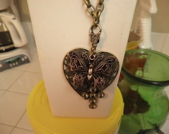 Heart with Butterfly and Cross Necklace