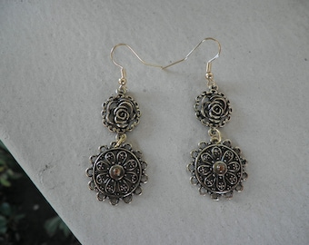 Sale Gold Rose and Flower Earrings