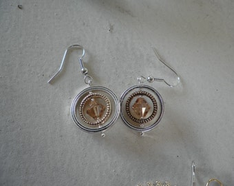 Silver and Gold Circle with a Topaz color Swarovski Crystal Earrings