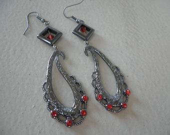Gun Metal Colored Dangled Earrings