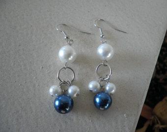 Sale White and Blue Pearl Dangled Earrings