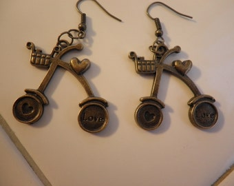 Sale Brass Bicycle made with Love Earrings