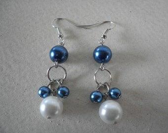 Blue and White Pearl Dangled Earrings