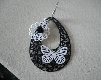 Black With White Butterfly and Flower Medal Earrings