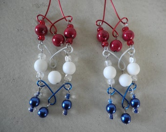 Sale Red White and Blue Bead and Wire Earrings
