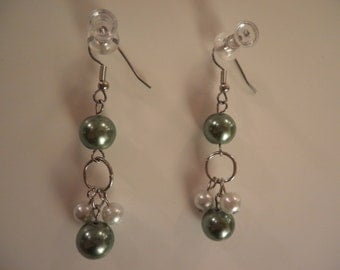 Green and White pearl Dangled Earrings