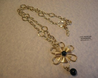 Gold Wire Wrapped Flower Necklace