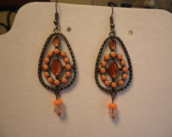 Orange Beads in a Hoop Earrings