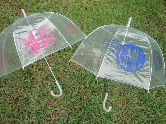 Reserved for jamieframpton 13 Personalized Monogram Clear Dome Umbrellas