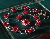 Deep Red Glass and Silver Necklace