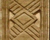 Oshiwa Carved Wood Printing Stamp, African Design, 3.25'' square, Item 18-3-10
