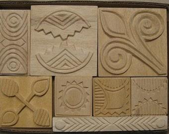Oshiwa Carved Wood Printing Stamp Set, Curvy Geometrics, Item 32-19