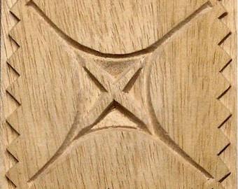 Oshiwa Carved Wood Printing Stamp, Graphic Design, 4.5''x 4.5'', Item 9-2-8