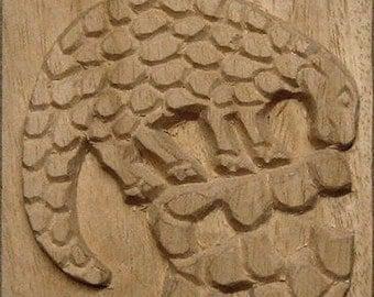 Oshiwa Carved Wood Printing Stamp, Sloth, 4'' square, Item 13-5-8