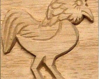 Carved Textile Stamp, African Rooster, Oshiwa Wood Printing Block, Item 10-24-12