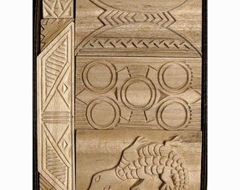 Oshiwa Carved Wood Printing Stamp Set, Tribal Designs, Item 32-3