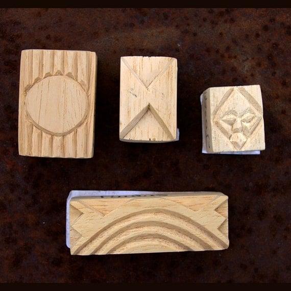 Carved Textile Stamps, African Design Set, Oshiwa Wood Printing Blocks, Item Set 3