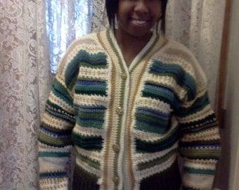 Winter SALE! 30% off...Striped Crochet Women's Sweater / button-front / long sleeved