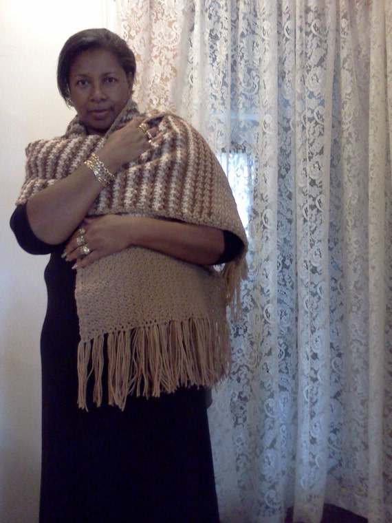 Sale! 20% off...Tan and Brown Shawl or super-size crochet scarf