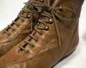 80s Lace Up Leather Oxford Ankle Boots