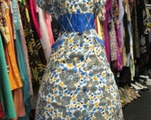 40s Cotton Day Dress with Diamonds and Flowers XL
