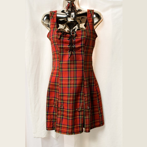 Vintage 90s grunge Lip Service red plaid dress. Lace up front & kick pleats. Size small. Made in the USA.