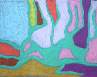 Abstract Landscape pastel - Blue landscape, pastel on paper, original painting on paper 8x10