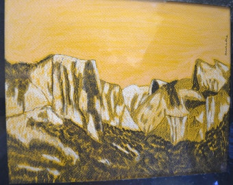 Original 8x10 Abstract Landscape - Yosemite mountains - mixed media
