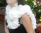 Hand Crocheted Snow White Ruffled Cowl Scarf