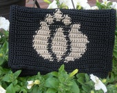 Beautiful Lotus Motif Black Clutch Purse