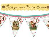 Vintage Easter Banner Hanging Tea party Burlap Decor Spring Bunny Egg Greeting Postcard Children Digital Collage Sheet Images Sh029
