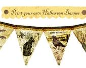 Vintage Halloween Witches Spider Ghost Skeleton Cat Bat Celebrate Banner Tea party Flag Burlap Postcard Digital Collage Sheet Images Sh187