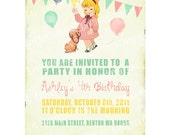 Digital PRINTABLE Vintage Celebrate Birthday Tea Party Girl Puppy Princess Children Daughter Baby Shower Nursery Invitation Cards Sheet IN11