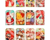 12 Vintage St Valentine Day Lamour Tea Party Lover Animals Boy Girl Celebrate Gift Tag Label Card Digital Collage Sheet Images Sh235