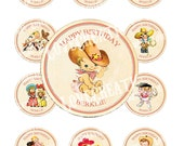 Vintage CowBoy CowGirl West Wild Celebrate Tea Story Book Cupcake Cake Topper Circle Label Stickers Tags Digital Collage Sheet Images Sh240
