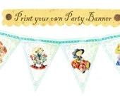 Printable Vintage Cowgirl Cowboy Birthday Baby shower Tea Party Celebrate Handmade Banner Flag Burlap Postcard Digital Sheet Images Sh244