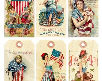 Vintage Fourth of JULY 4TH American Tea Party greeting card Labels Decoration Hanging Tags Digital Collage Sheet Images Sh118