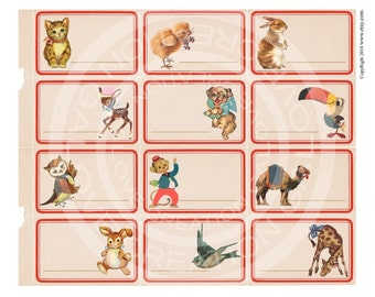 Vintage Animals, Birthday, Easter Party, Kitty, Cat, Bird, Chick, Deer Owl Bunny Stickers Labels Digital Collage Sheet clip art Images Sh071