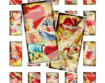 Vintage St Valentine Day Party Lover Boys Girls 1x2 inch domino GLASS TILE pin card Labels Digital Collage Sheet Images Sh003