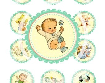 Vintage Baby Boy Shower Pregnacy Tea Download Print Birthday Party Circle Labels Stickers Gift Tags Digital Collage Sheet Images Sh070