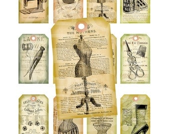 Vintage Shabby Chic Dress form Sewing machine Buttons thread Clothes pin Gift Price Tags Paris ACEO Cards Digital Collage Sheet Images Sh137