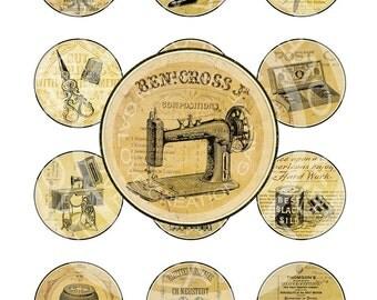 Vintage Paris Dress form Sewing machine Button thread Clothes pin Download Print Circle Labels Clip art Digital Collage Sheet Images Sh145